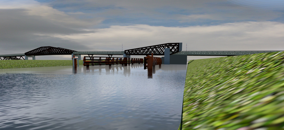 A pivoting section of the bridge over the Winschoterdiep canal will allow ships to pass / Nol Molenaar