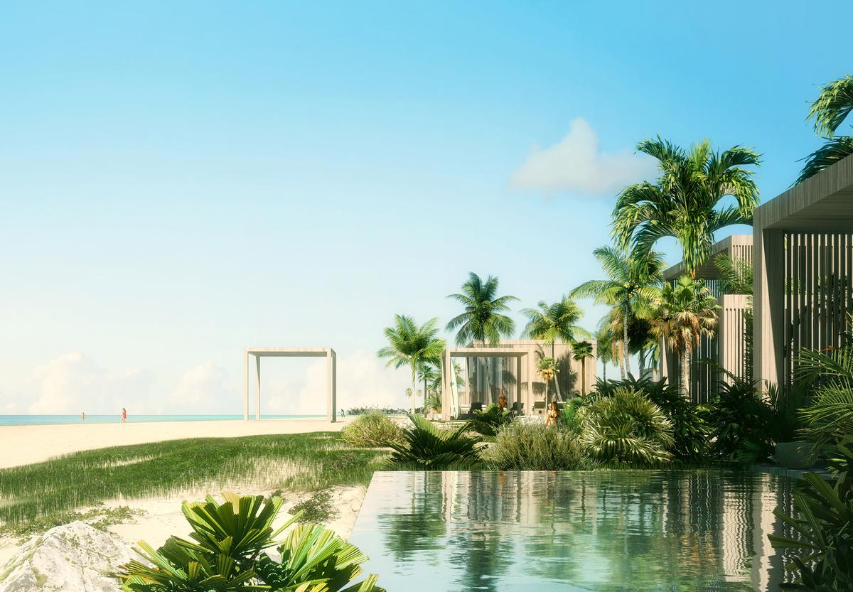 The resort will run along a 9,000ft (2,750m) stretch of coastline on Rockwell Island / Luxigon