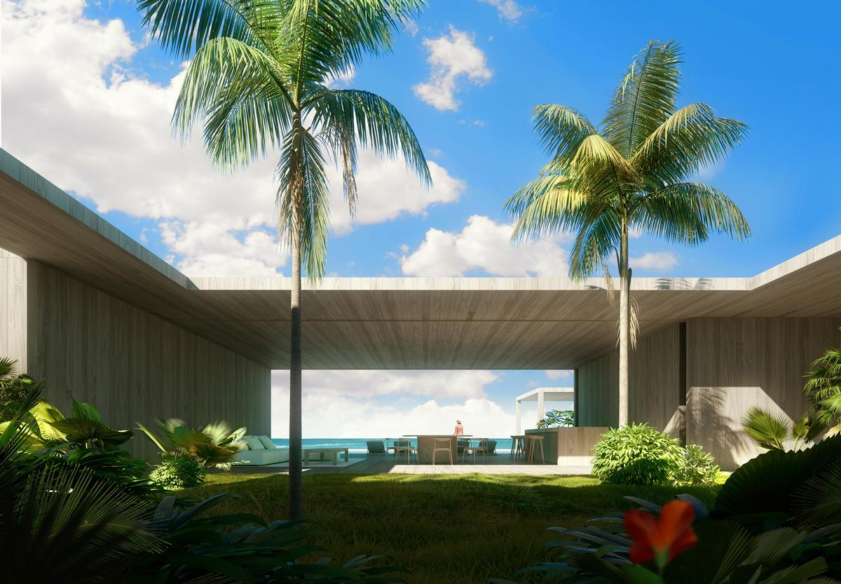 The villas will each take the form of a cluster of small volumes arranged around a secluded pool and garden / Luxigon