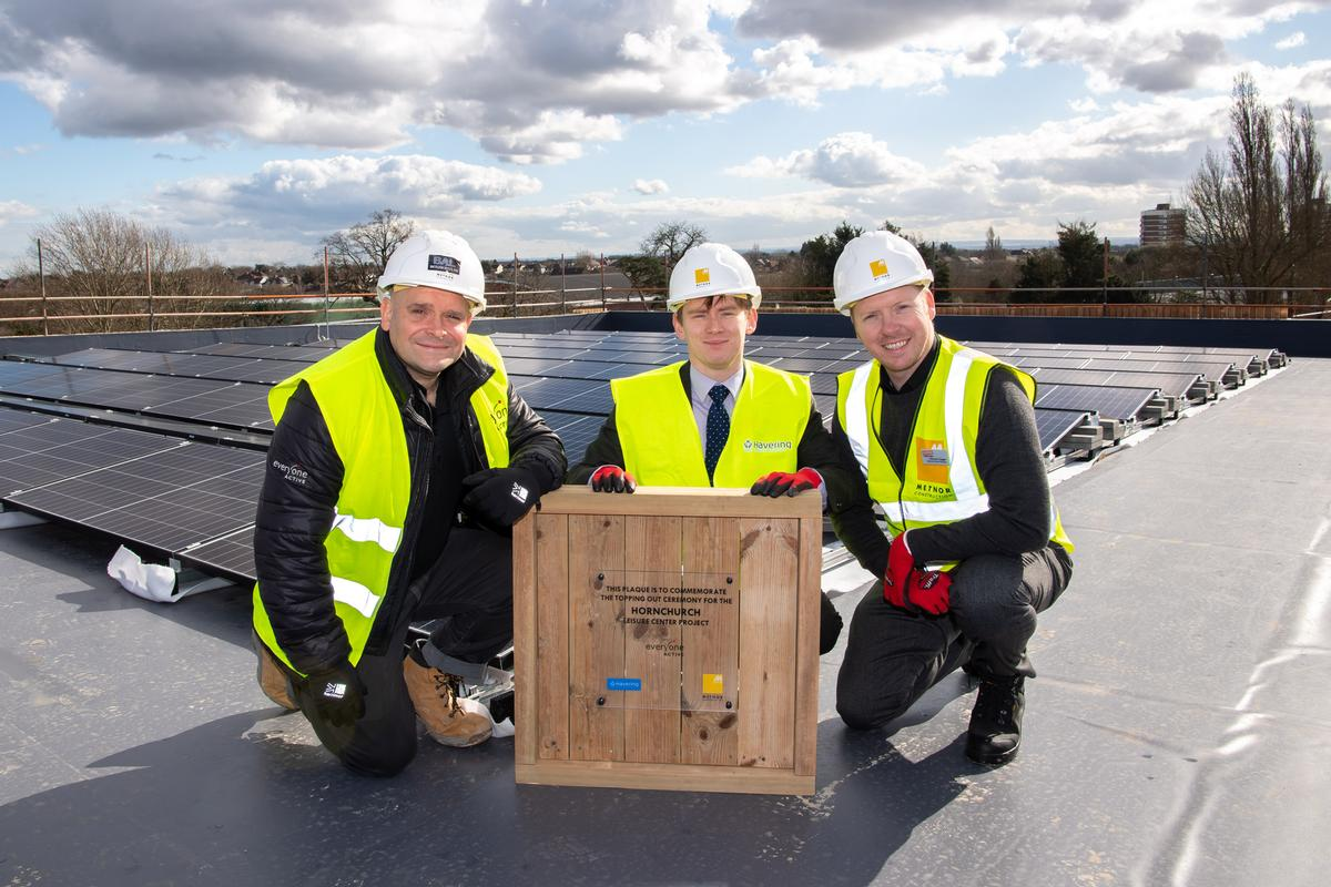 Tom Fletcher Everyone Active's area contract manager (left), councillor Damian White (middle) and Duncan Cogger, regional contract manager, Everyone Active at the topping-out ceremony / Everyone Active