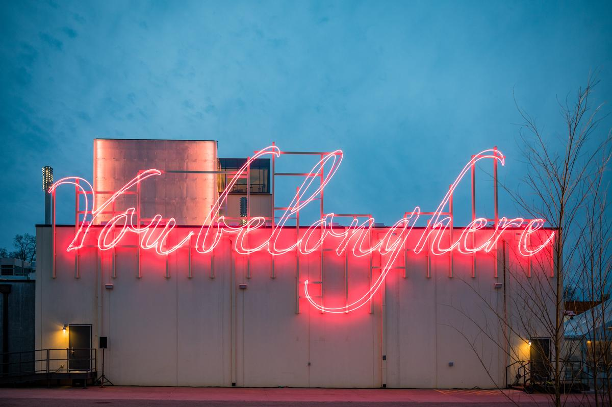 'You Belong Here', a site-specific neon sculpture by artist Tavares Strachan / Stephen Ironside