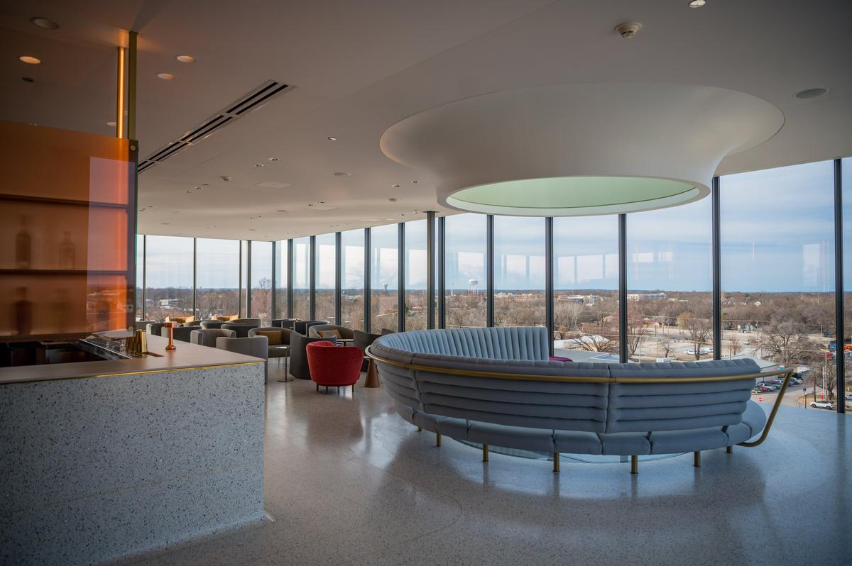 A bar in the building's tower has panoramic views and a floor skylight looking down to the museum below / Stephen Ironside