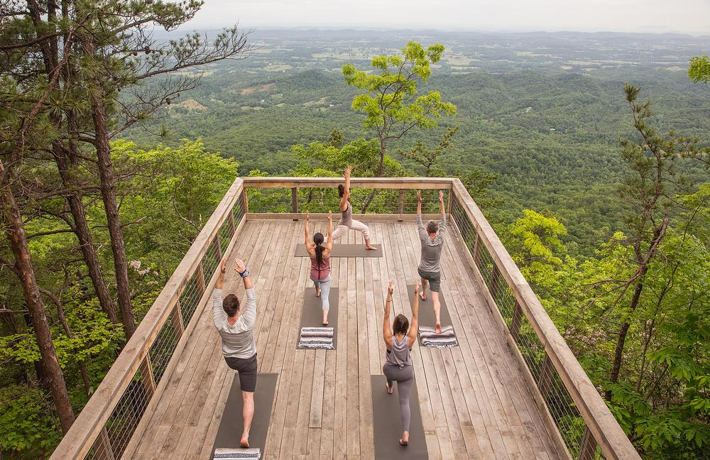 A yoga platform offers views of the spectacular scenery
