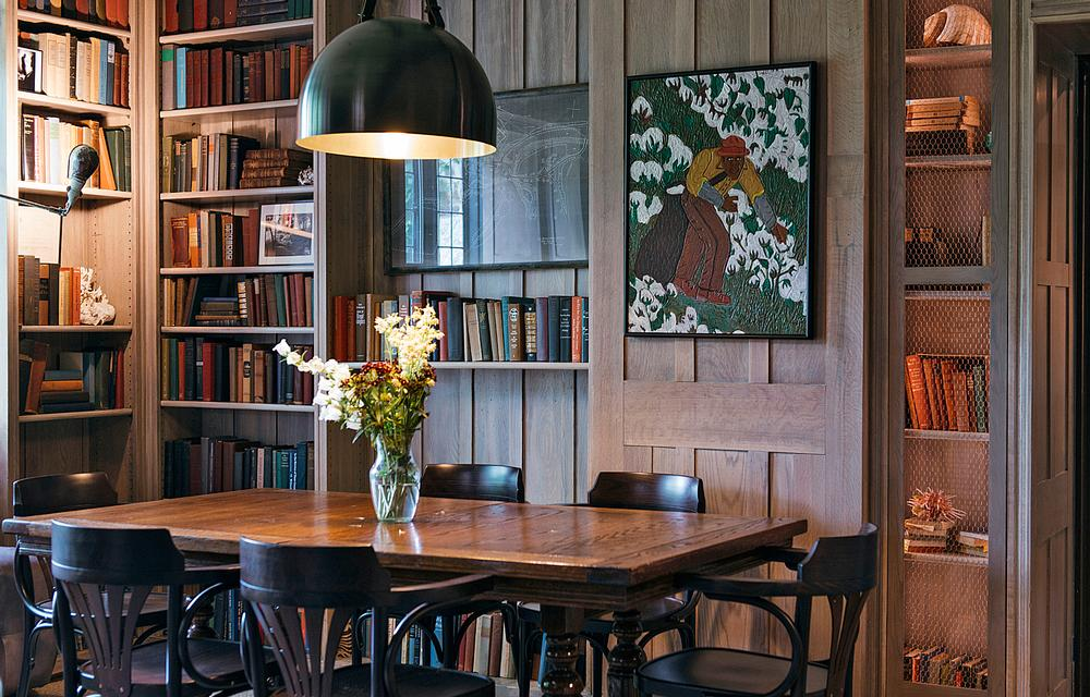 The library at the Troutbeck hotel is stocked with books from the property's original collection