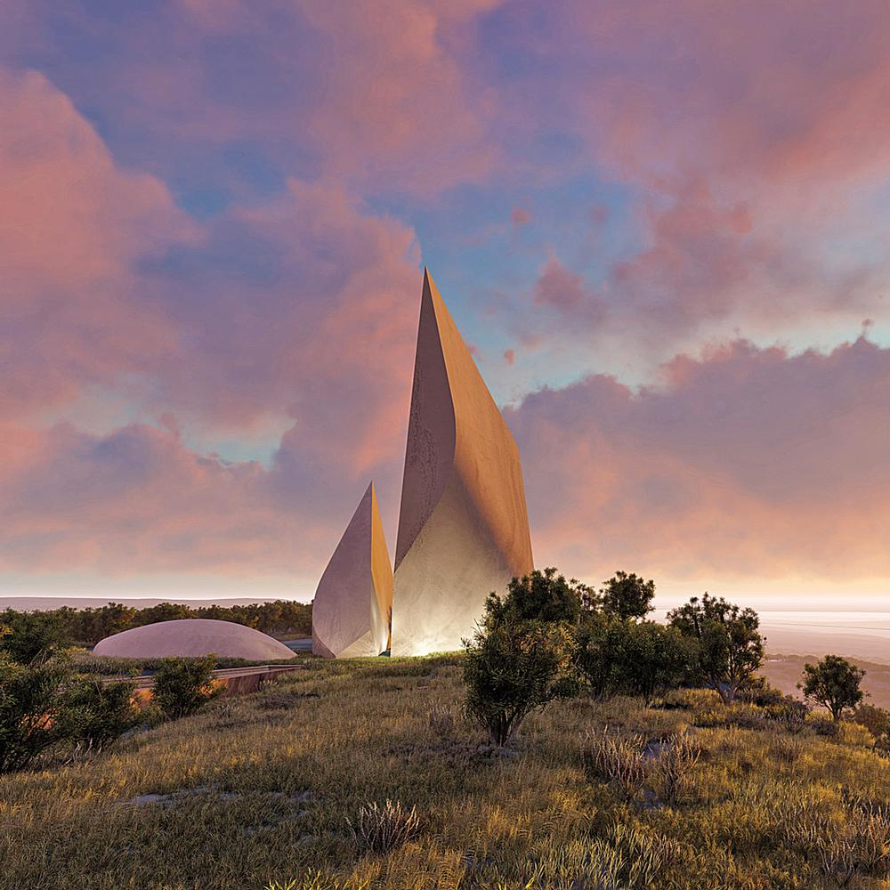 The two pointed structures were inspired by the ancient hand axes that were the first tools of early man