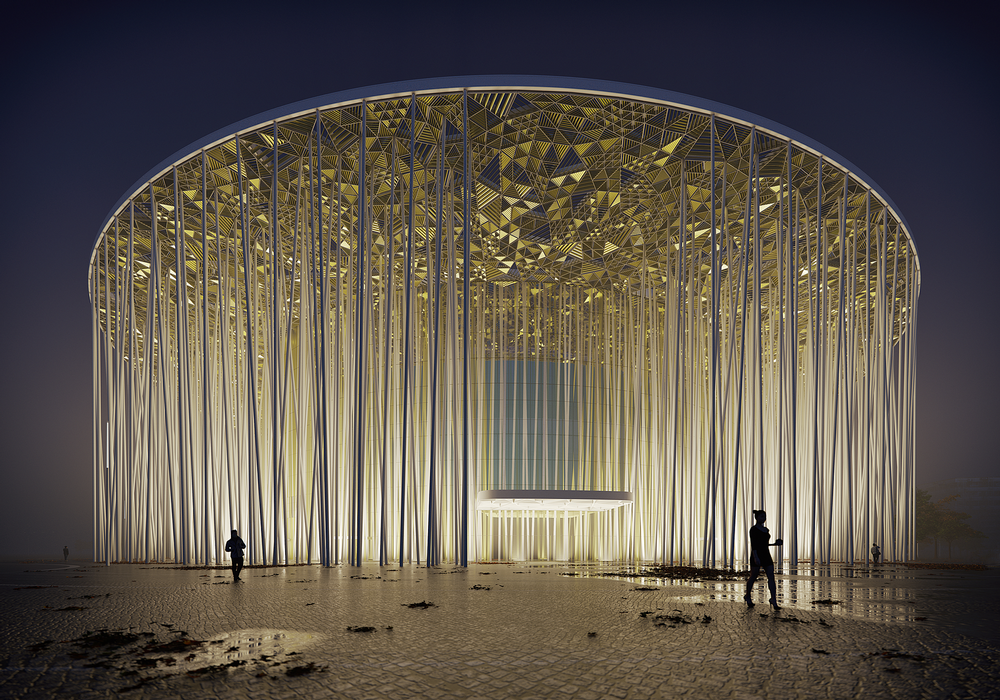 The columns will be backlit at night / Steven Chilton Architects