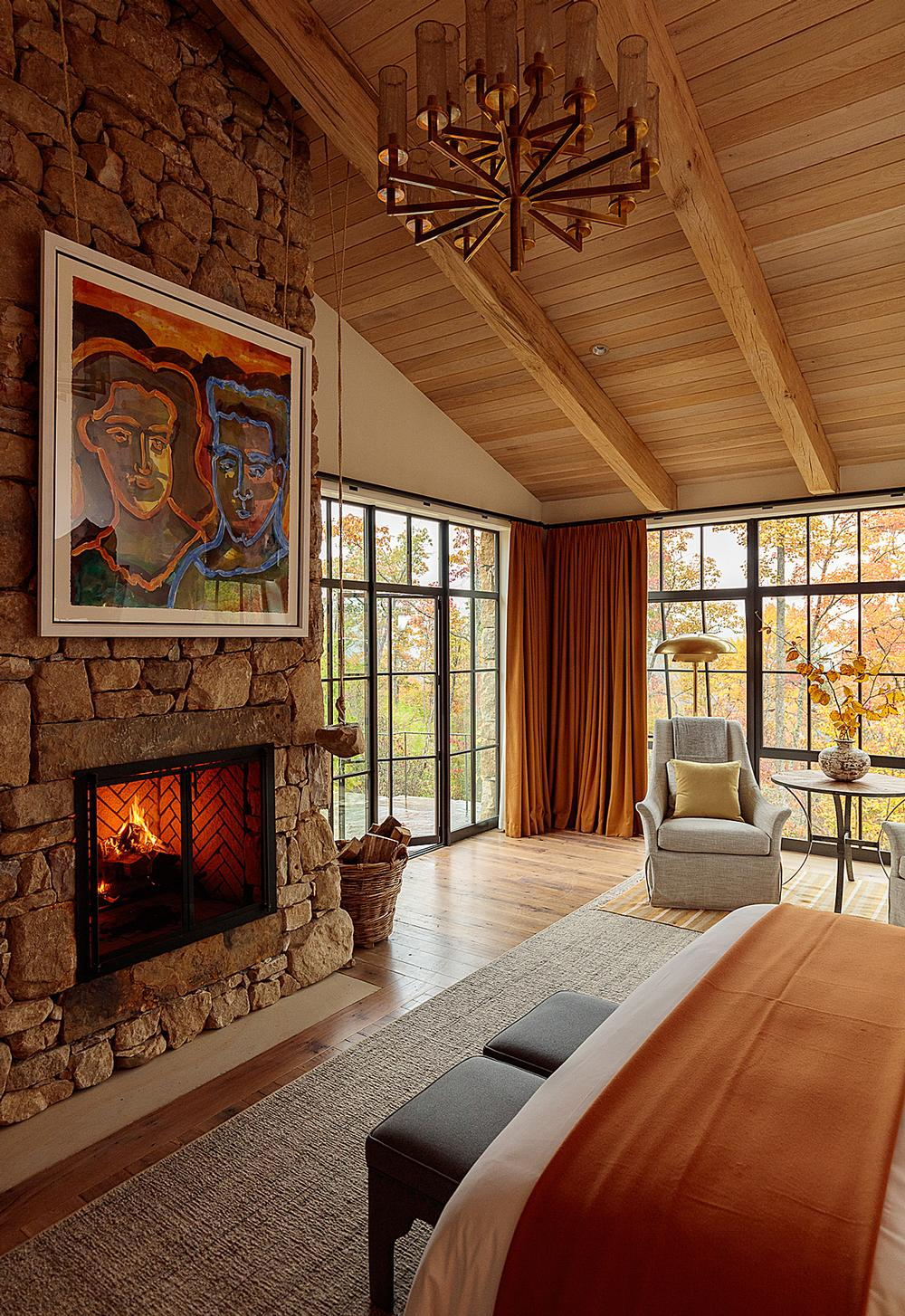 Earthy tones and natural materials create a relaxed feel