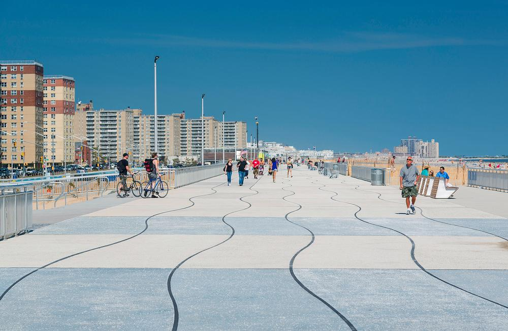 After the destruction of Hurricane Sandy, the Rockaway Boardwalk was rebuilt and designed to be a space that brings the community together