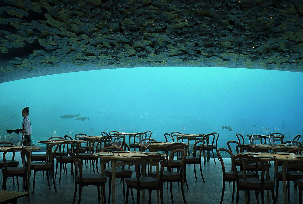 A huge acrylic 11m by 4m window frames the ever changing seascape outside the restaurant