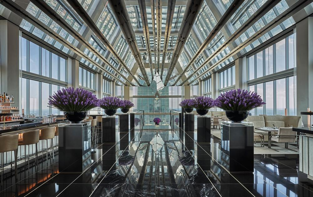 The JG SkyHigh bar and lounge, with interiors by Foster + Partners and flowers by Jeff Leatham