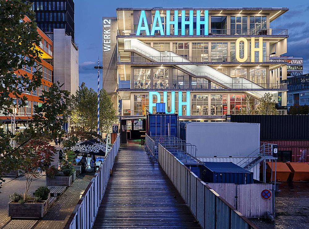 The 5m high letters spell out verbal expressions from German comics