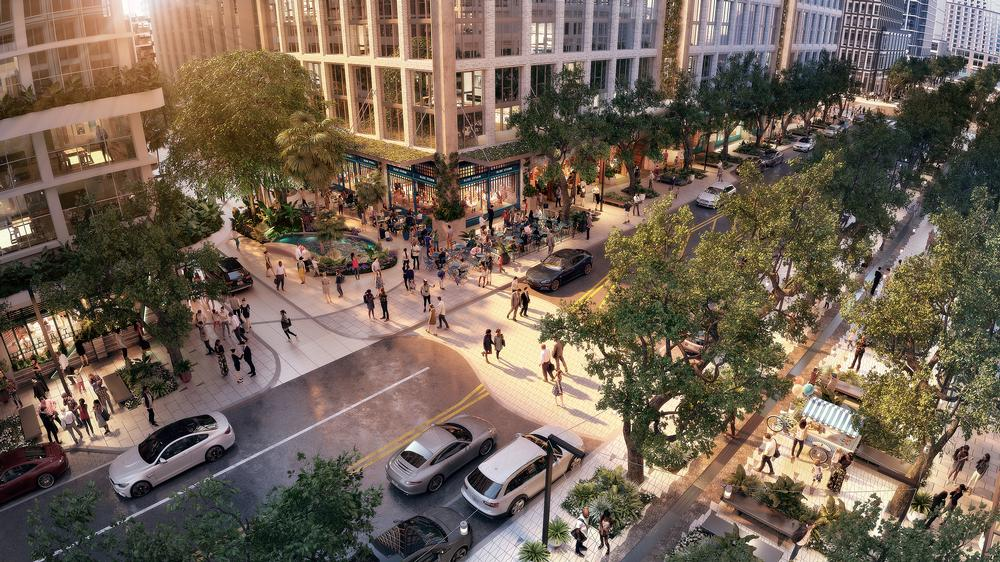 Water Street will feature a 45-ft wide landscaped promenade, with trees to offer shade and improve air quality