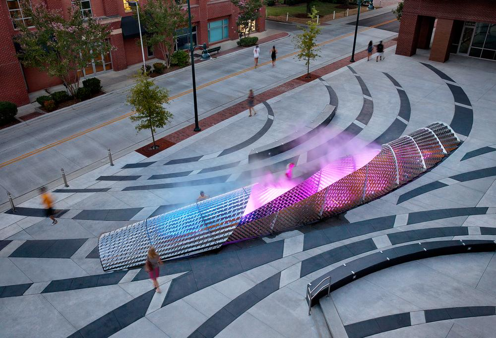 Mikyoung Kim created a sculptural fog fountain for Chapel Hill / Photo: Mark Larosa