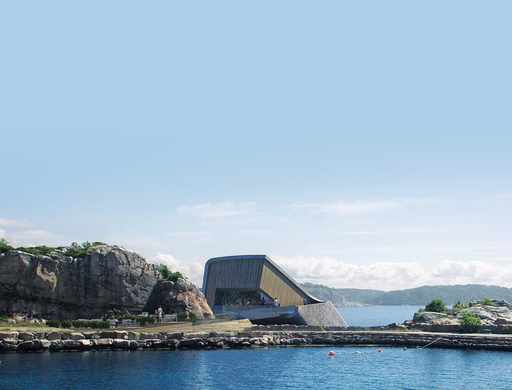 The concrete shell was cast in southern Norway. The building was constructed on a barge so that it could be lowered into the water