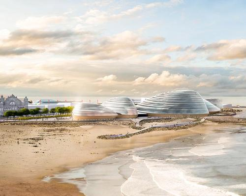 Eden Project North will feature a number of mussel-shaped, seaside pavilions. / Courtesy of Grimshaw Architects