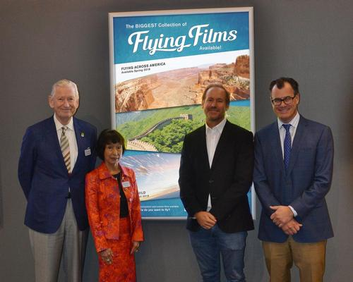 L-R: Michael Needham, president of Simex-Iwerks and Shiori Sudo, VP of Simex-Iwerks with Shaun MacGillivray, president of MacGillivray Freeman Films and Mike Frueh, senior VP of Licensing & Distribution at Simex-Iwerks