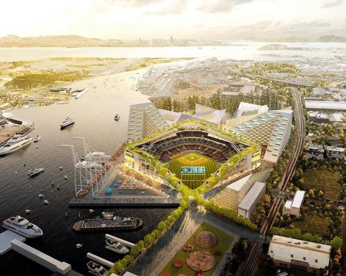Designed by Bjarke Ingels the 34,000-capacity stadium is being planned for a site at Port of Oakland's Howard Terminal