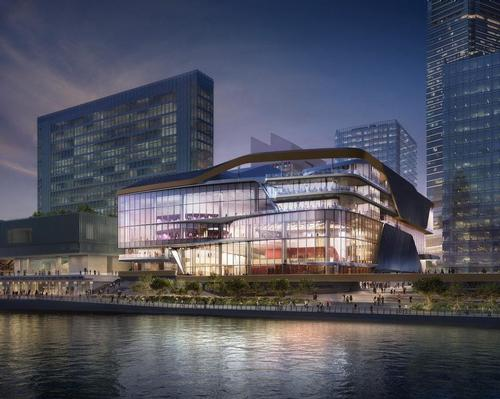 The future structure will rise on West Kowloon's waterfront. / Courtesy of UNStudio