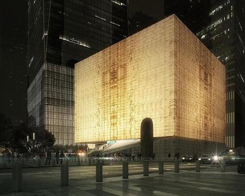 Wrapped in translucent veined marble, at night the performing arts center will become a glowing lantern