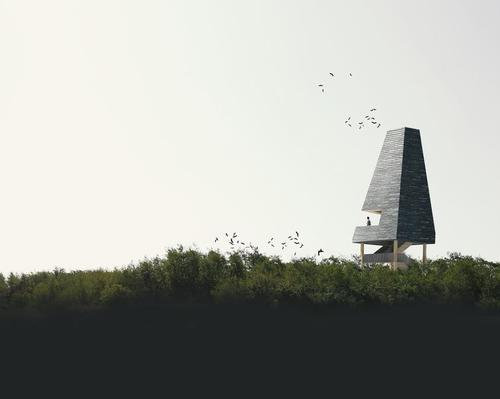 Amager Nature Park will feature seven new folly-like buildings. / Courtesy of Møller & Grønborg and ADEPT