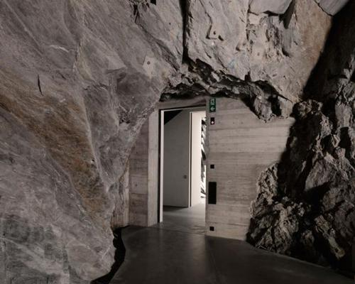 The museum was designed by Zurich-based architectural practice Voellmy Schmidlin Architektur who used natural rock formation in the Alps as an architectural theme