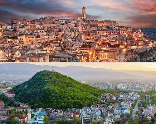 Matera (top) in Italy and Plovdiv in Bulgaria are Europe's 2019 Capitals of Culture