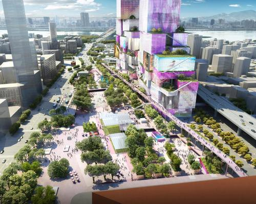 The new mixed-use complex has been described as a vertical urban neighbourhood. / Courtesy of MVRDV
