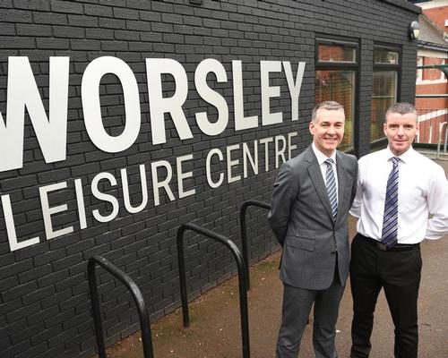 Mark Chew, director of Leisure at Salford Community Leisure (left) at the reopened Worsley centre