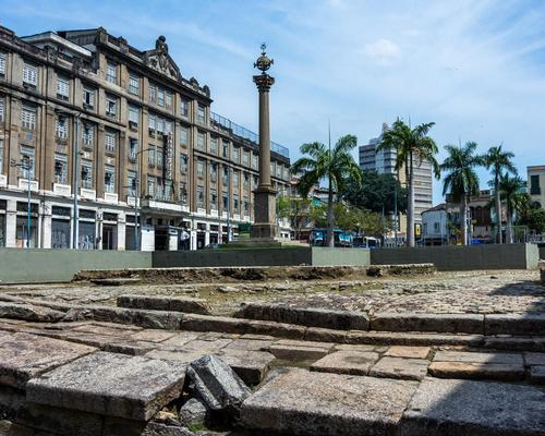 Valongo Wharf in Rio de Janeiro - a view showing the broken paving stones that are currently being restored
