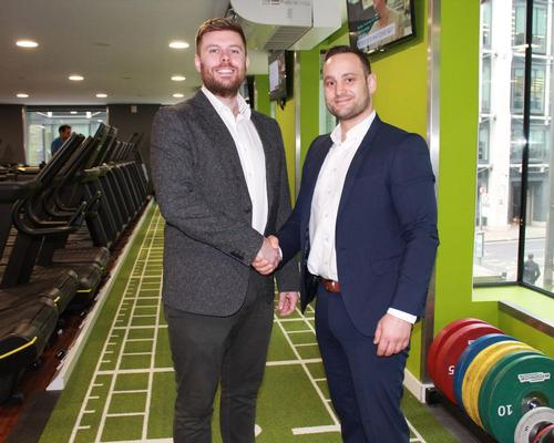 Eamon Lloyd, head of partnerships at Gympass (left) with Adrian Worsley, national operations manager at Bannatyne Health Clubs (right)
