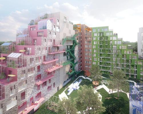 The apartments – visually similar to Moshe Safdie's Habitat 67 – will be designed to promote wellbeing.