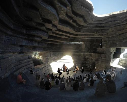 The cultural venue will also function as a temple to nature. / Courtesy of OPEN Architecture