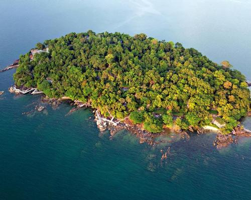 The resort is located on a private island in southern Cambodia