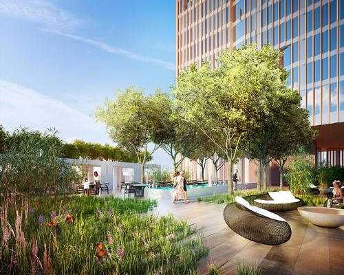The new property will feature sky gardens, two restaurants, residences, and a five-star hotel. / Courtesy of Manhattan Loft Corporation