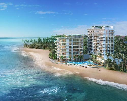 The condos are taking shape in Talpe, Galle.