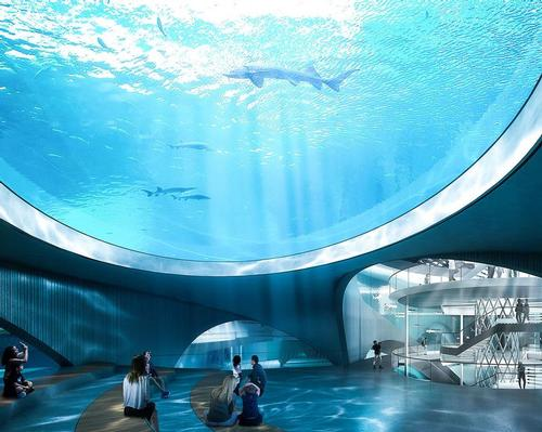 The expansive laboratory and attraction will house populations of finless porpoises and sturgeon. / Courtesy of Ennead Architects