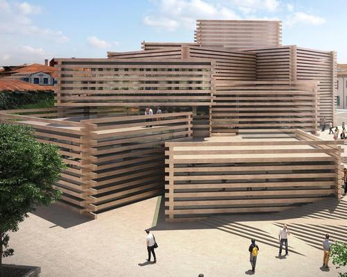 Kengo Kuma's wood market-inspired museum on track for summer opening