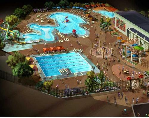 A rendering of the Lost Kingdom water park
