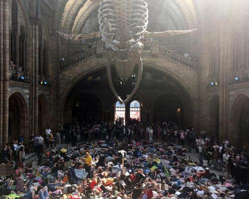 Climate change protesters at the Natural History Museum
