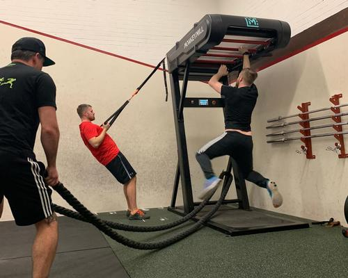 The Monkey Mill is a patent-pending motorised monkey bar machine, that combines CV and strength training
