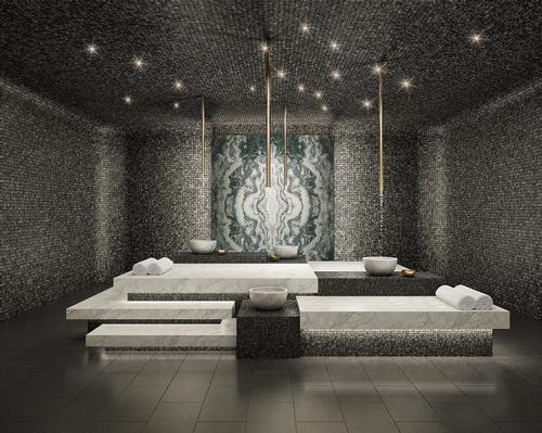 The wellness area at the upcoming 111 Murray Street residential building in New York spans over 20,000sq ft, and includes a 500sq ft Turkish hamam