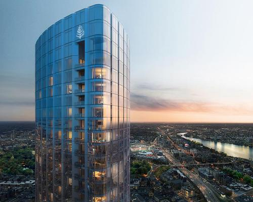 The soaring glass skyscraper – now the city's third tallest building at 724 feet or 220 metres – was designed by Harry Cobb of Pei Cobb Freed & Partners in collaboration with Gary Johnson of Cambridge 7 Associates