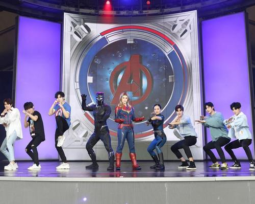 In the Marvel Universe attraction, guests can take part in an Avengers training sessions with characters such as Black Panther and Captain Marvel