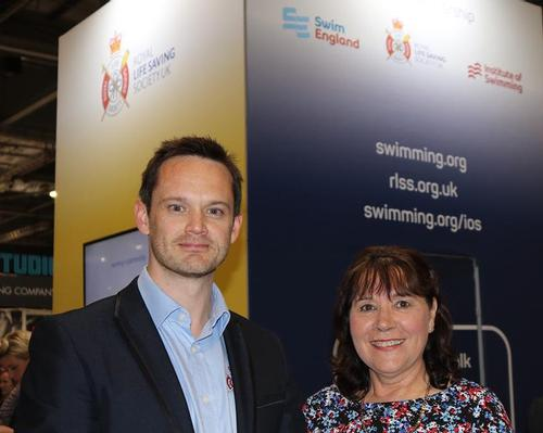 RLSS UK's Lee Heard (left) with Swim England CEO Jane Nickerson (centre) and Rebecca Cox, managing director of Institute of Swimming (right)