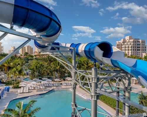 The 5-acre playscape boasts seven slides, a lazy river, a children's area, and an expansive lagoon.