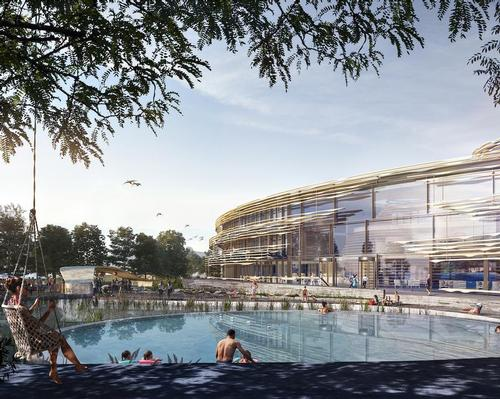 The pool wing opens to the external natural pool, allowing people to submerge themselves further into their surroundings, stimulated by reflection and atmosphere