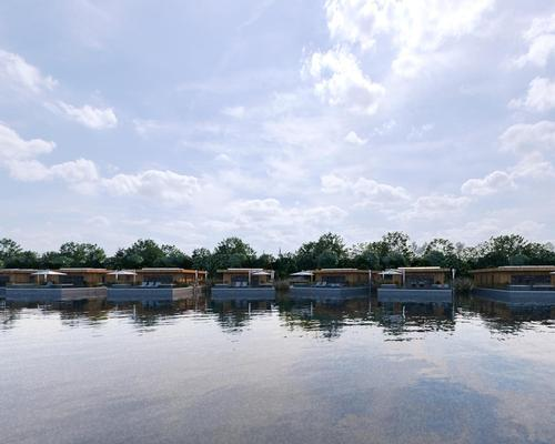 Fifty eco lodges, currently under construction, will float amongst reed beds at the side of the western lake and, when completed, the hotel and spa will serve lodge residents as well as their own guests