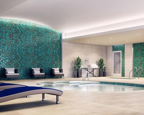 The state-of-the-art hydromassage pool sits alongside a surrounding hydrotherapy circuit that includes a steam room, sauna and eight-foot deep cool plunge pool