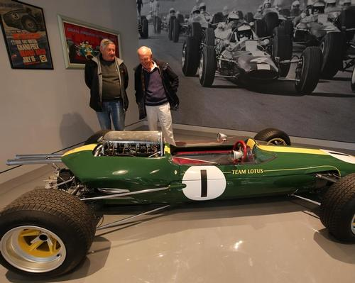 Doug Niven (right), cousin of Jim Clark, and Archie Simmonds, whose father was a mechanic for Clark, with the Lotus car in which the driver won four Grands Prix / Scottish Borders Council