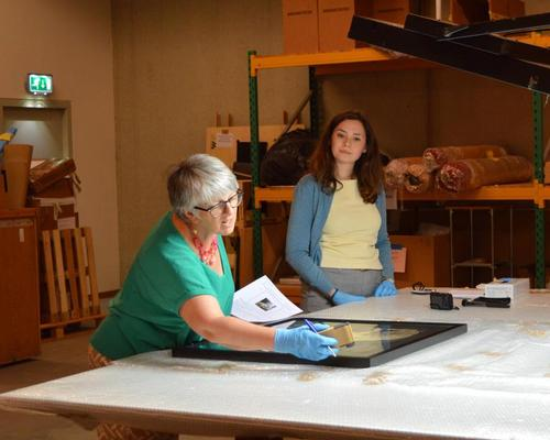 Julie Ward MEP (left) during her day internship at Bonnefantenmuseum in Maastricht